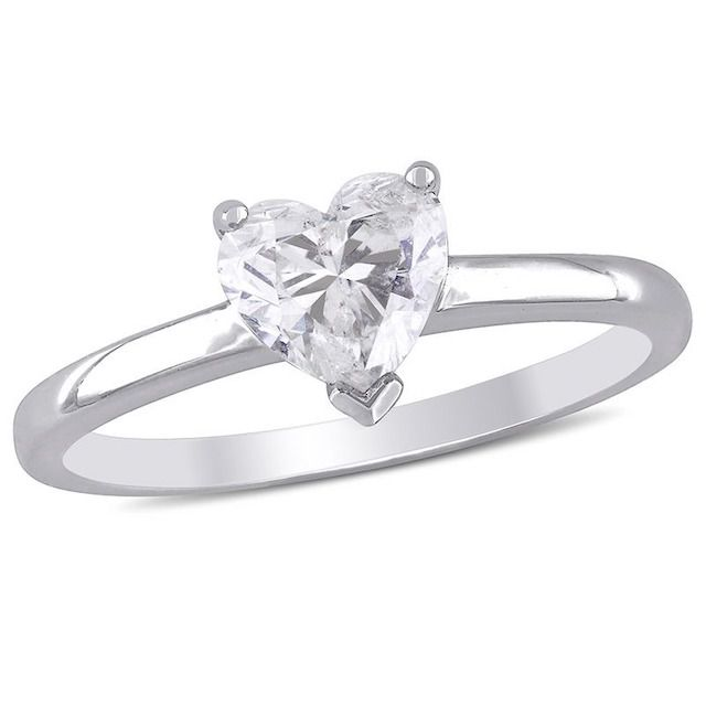 Zales Diamond Solitaire Ring Heart-Shaped 14K White Gold