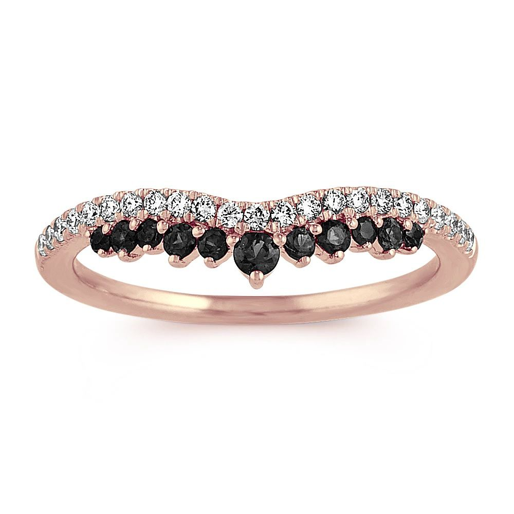 Shane Co. Rose Gold Contour Ring With Diamond and Black Sapphire