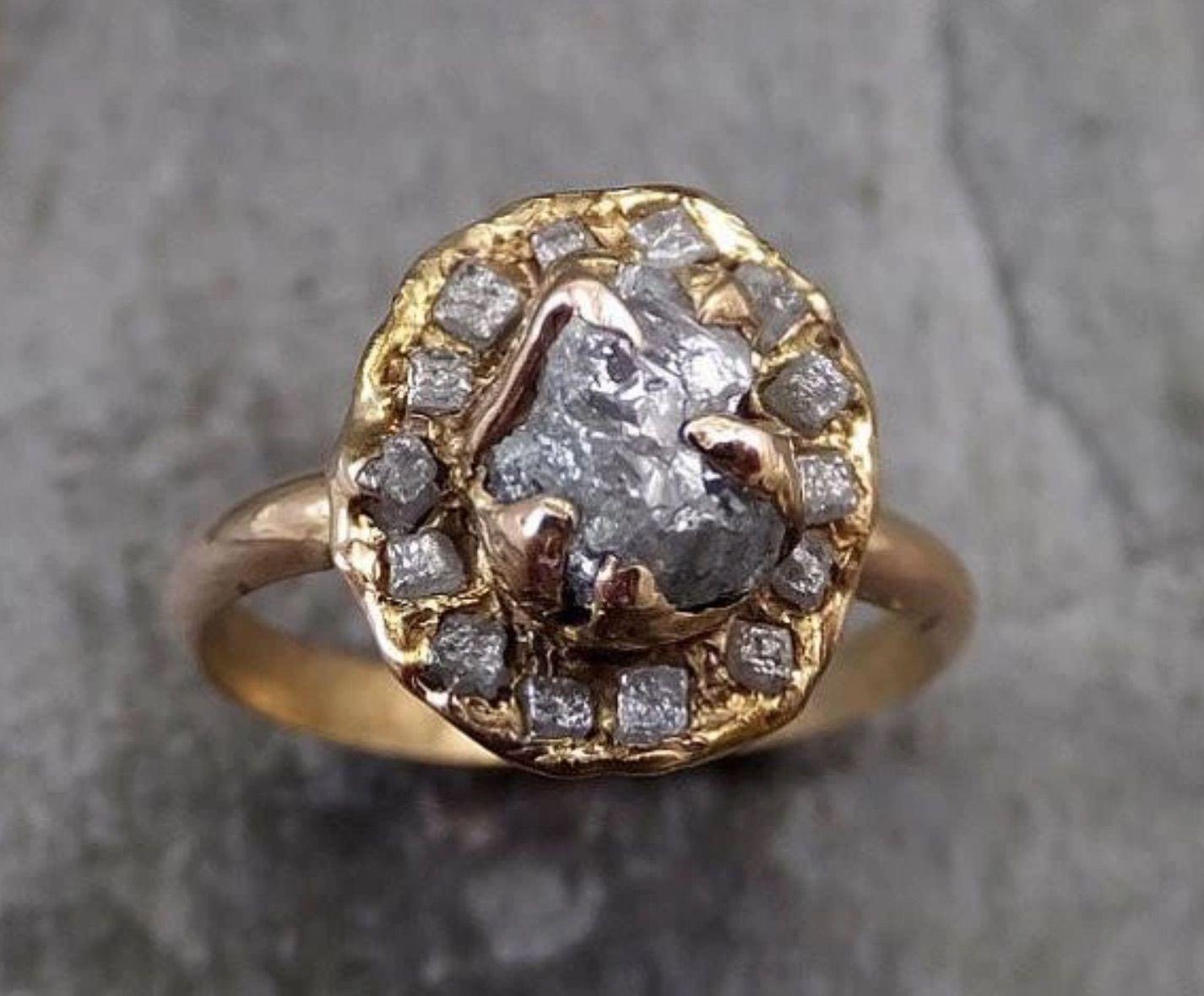 Raw diamond multi stone halo engagement ring