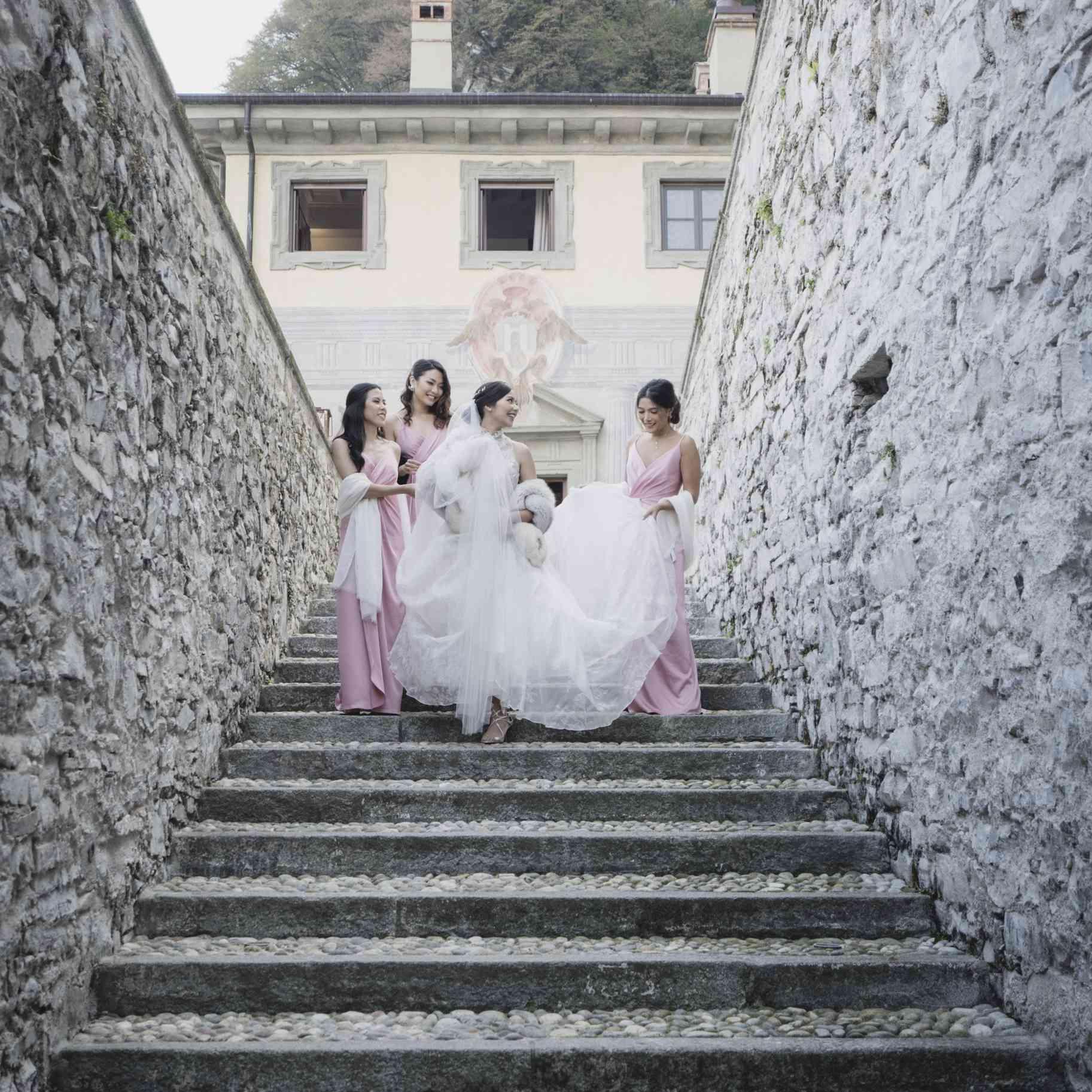 romantic lake como wedding, bridesmaids helping bride