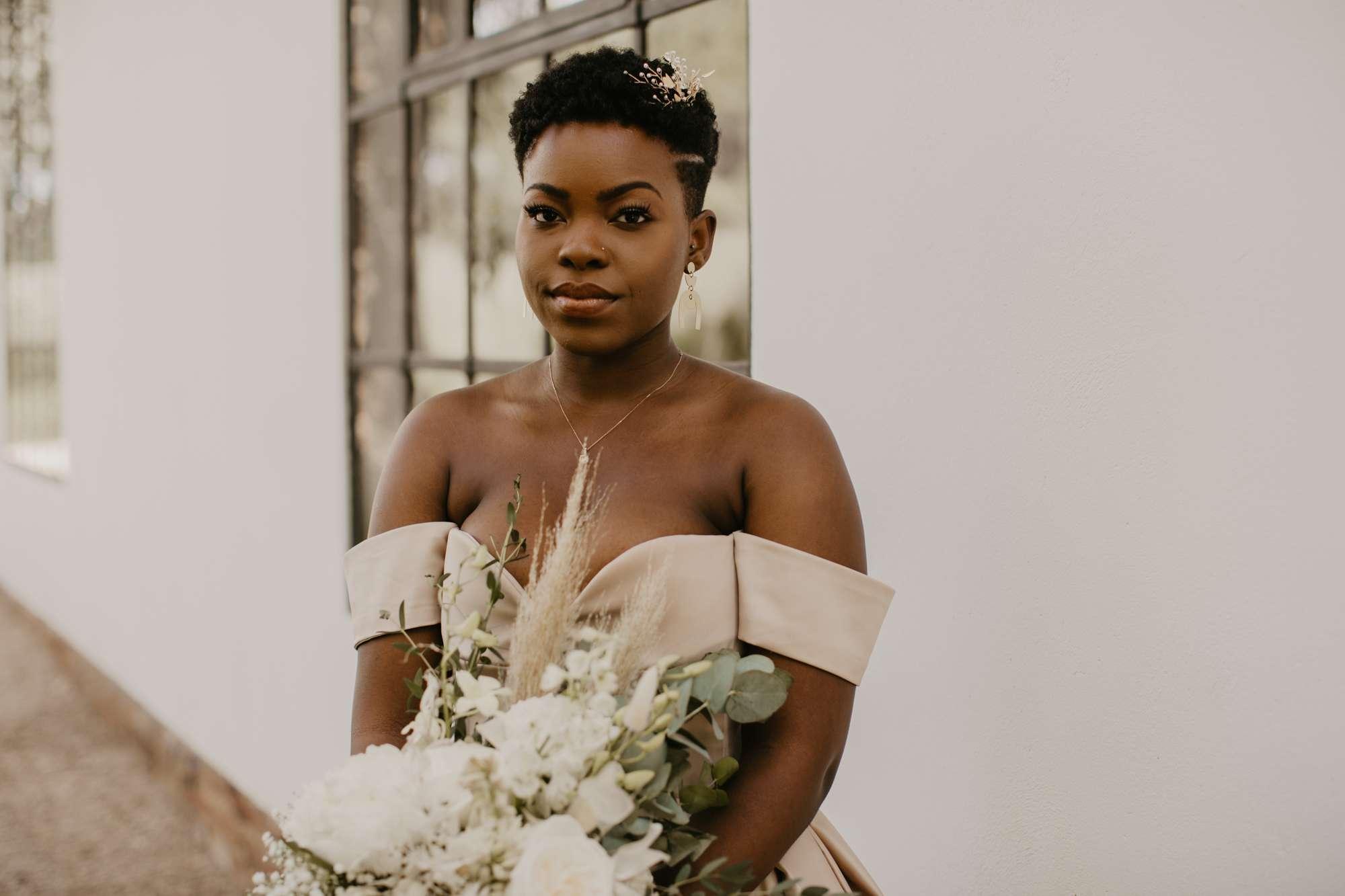 Bridal portrait in blush dress