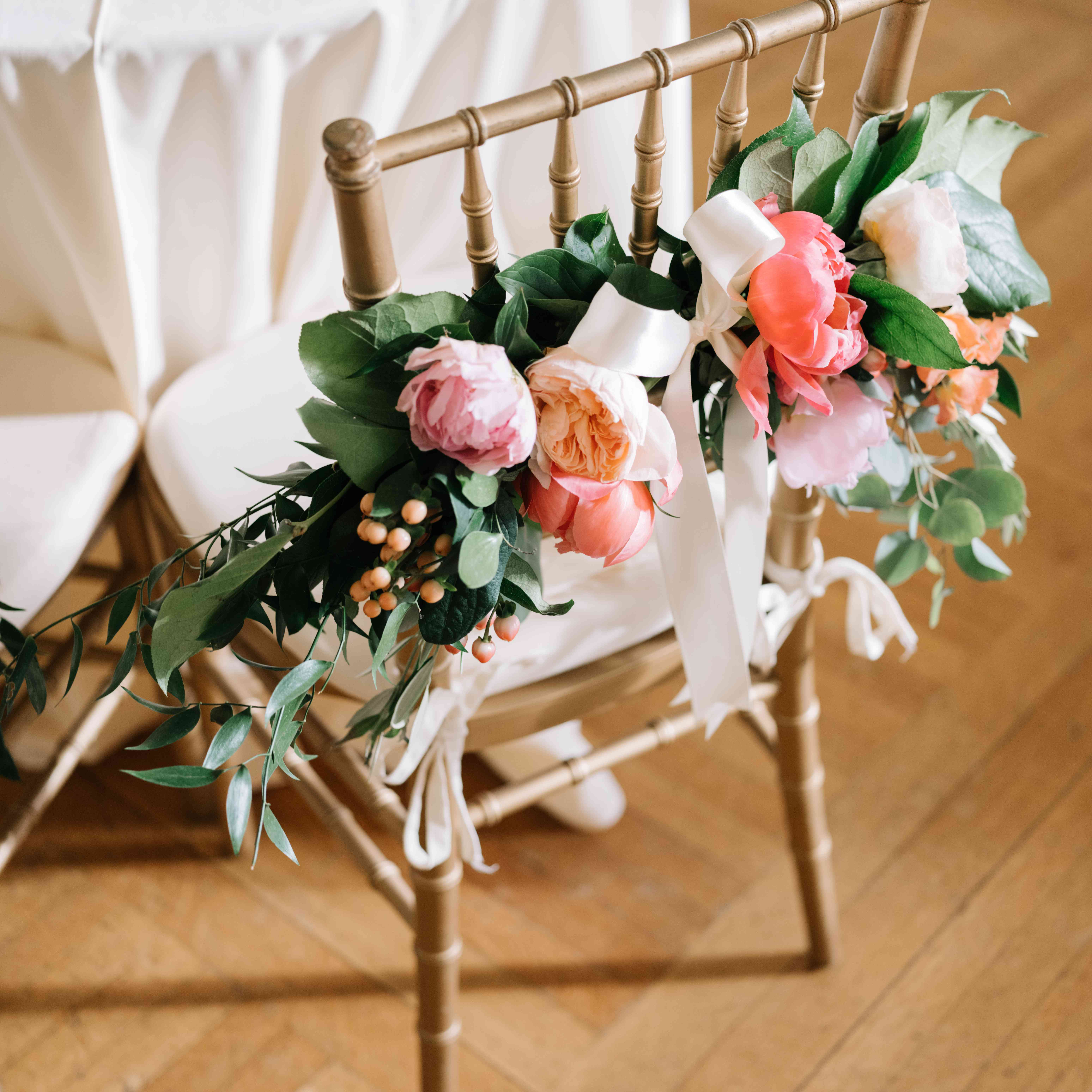 flowers on chair