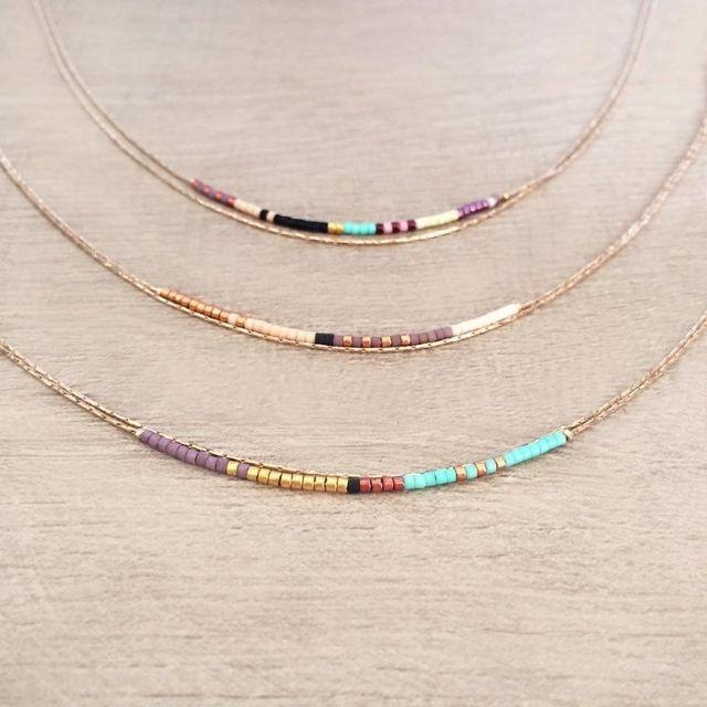 Kurafuchi Rose Gold Dainty Double Multicolor Necklace