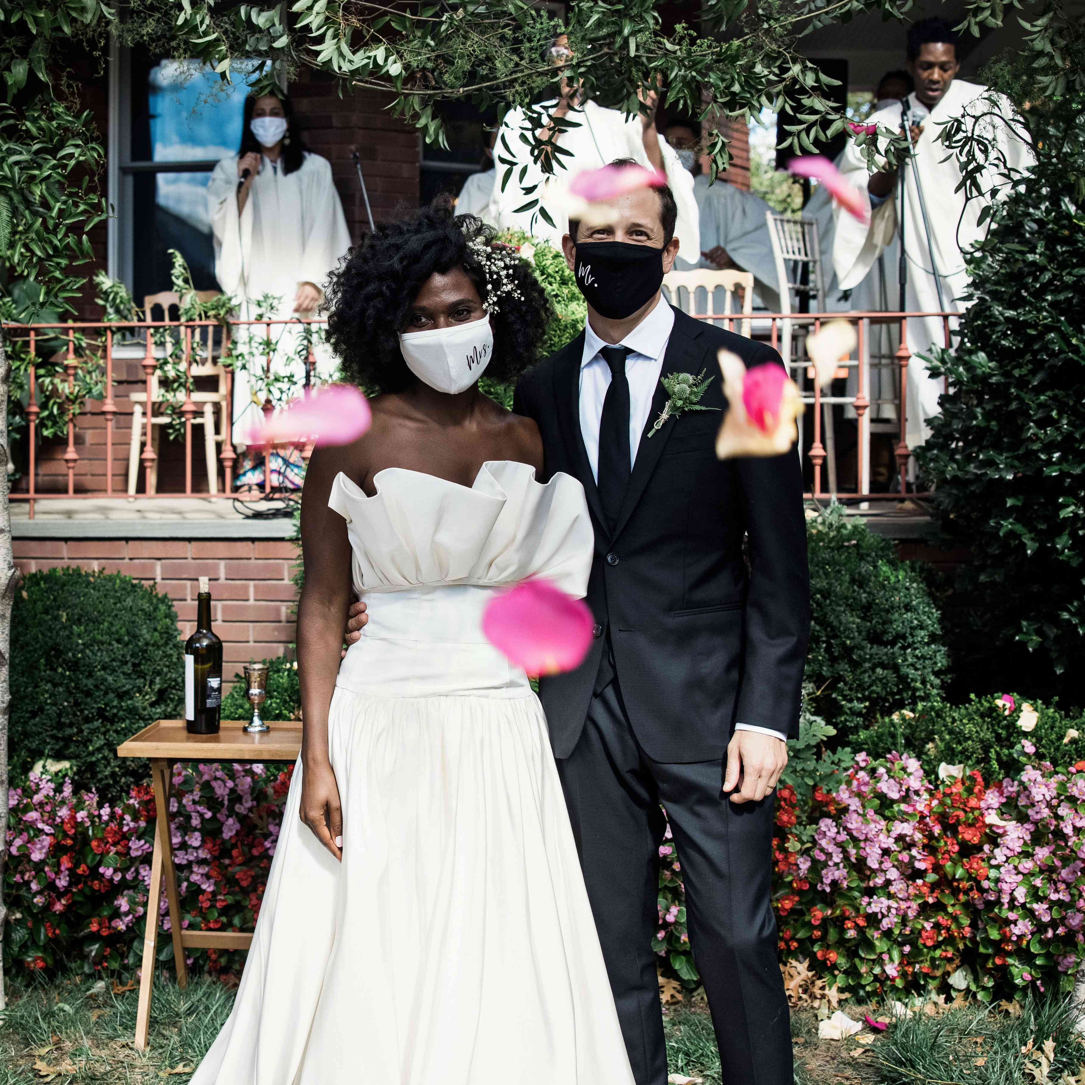 The couple with masks