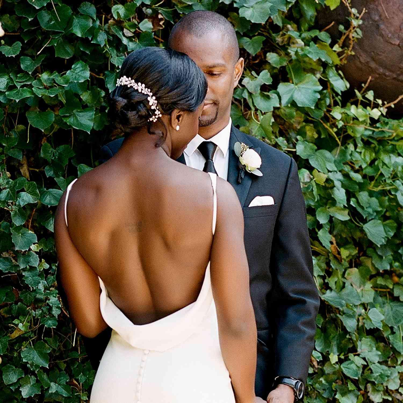Bride with crystal embellished braided bun
