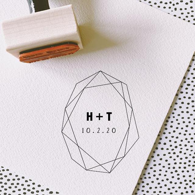 Print Smitten Geometric Wedding Stamp