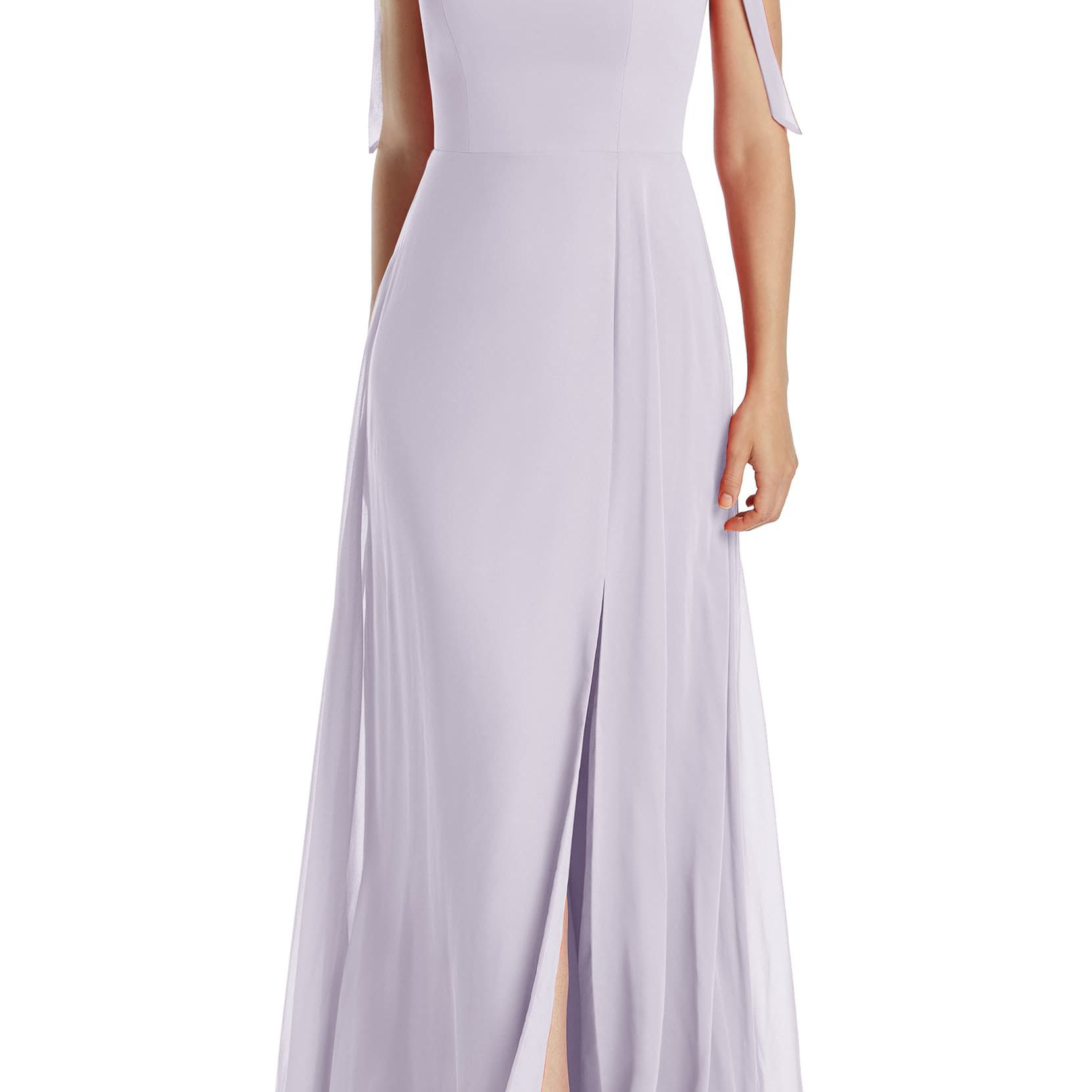Dessy Collection Shoulder Tie Chiffon Evening Dress $239