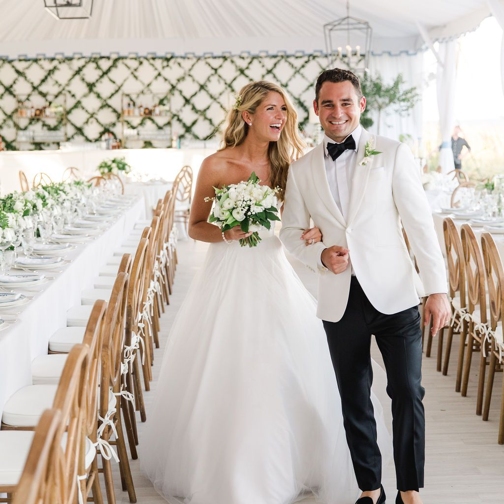 timeless southern wedding, bride and groom reception tent
