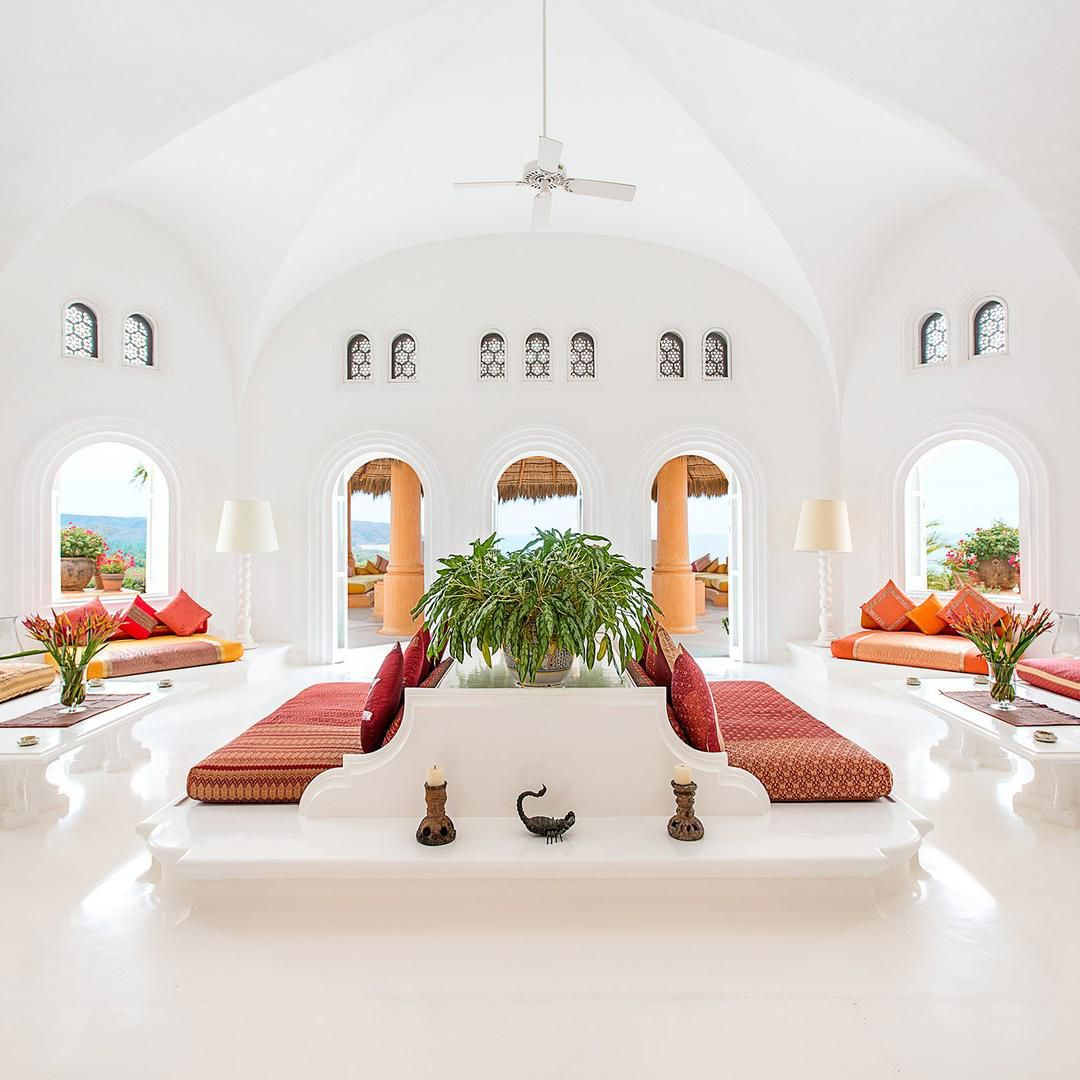 The lobby at Cuixmala, a resort in Mexico.