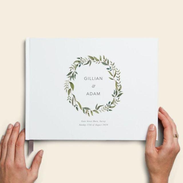 Papier Green Foliage Design Guestbook