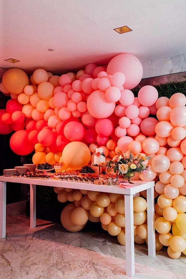 Floor to ceiling balloon installation