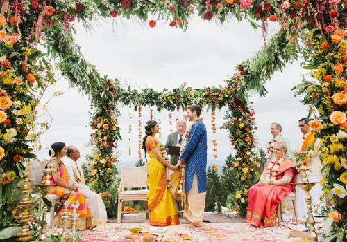 Hindu couple under mandap