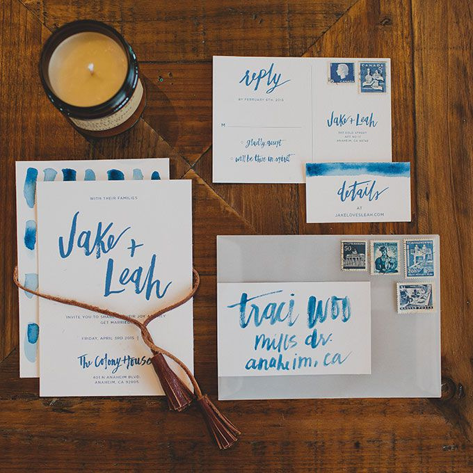 Hand-lettered watercolor wedding invitation suite