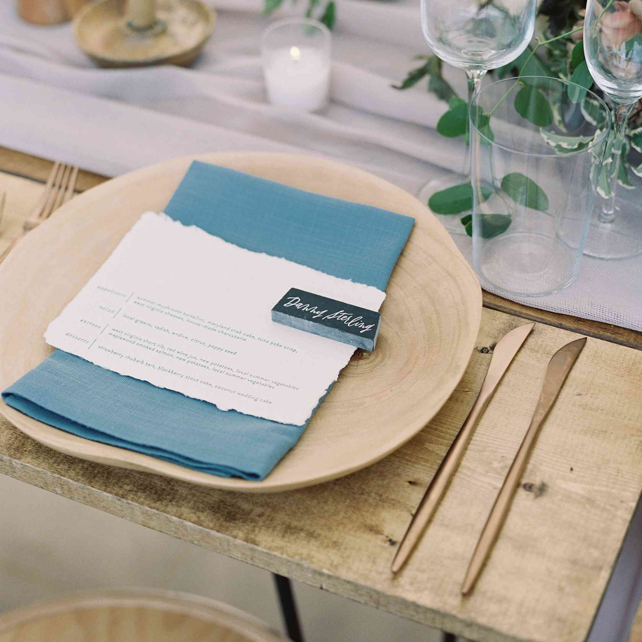 Wedding place setting and menu