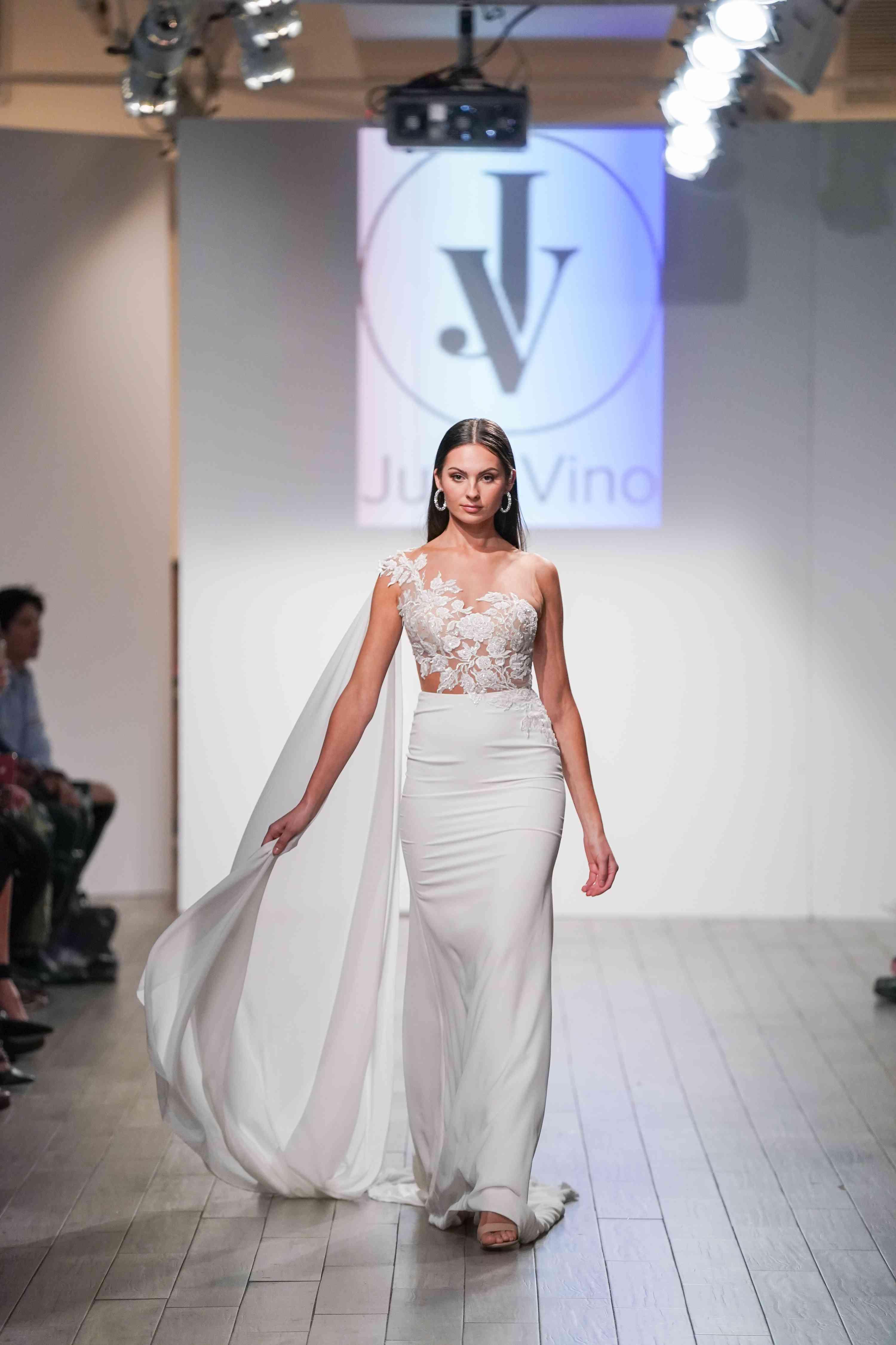 Model in one-shoulder wedding dress