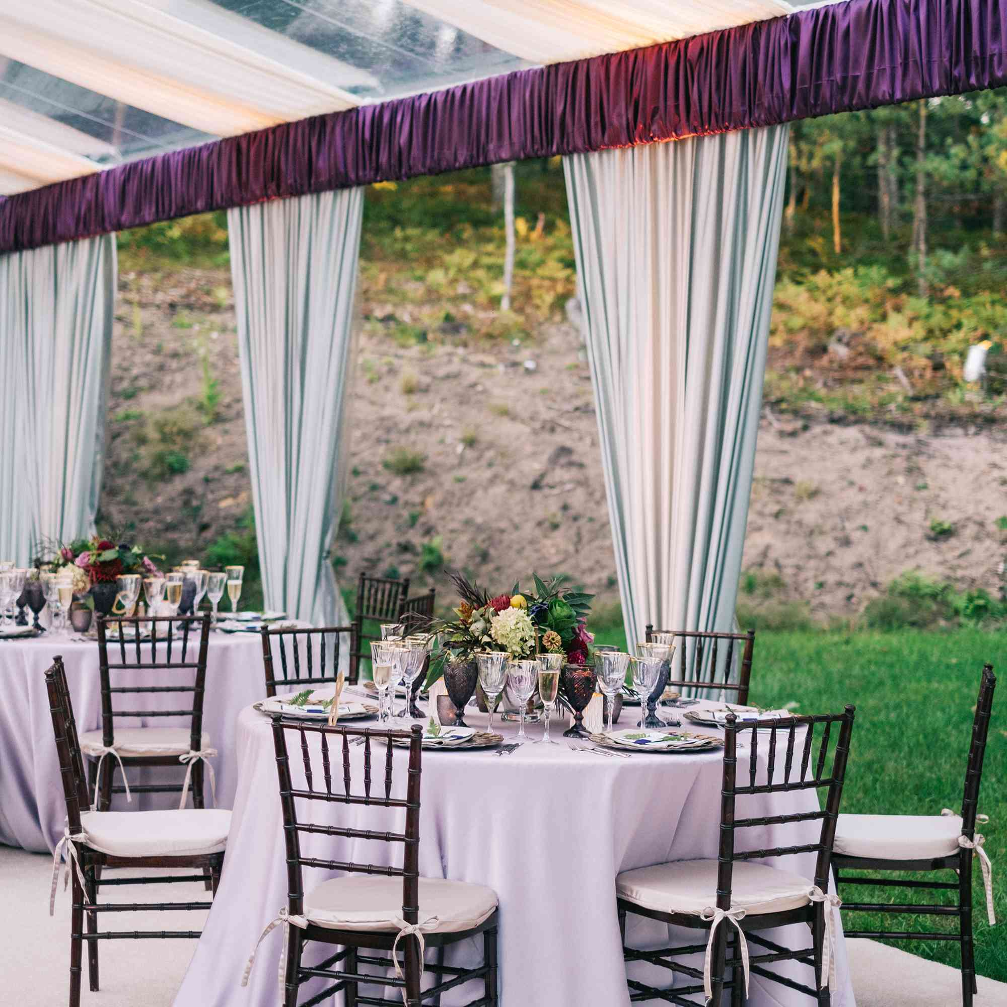 Velvet-covered trim outlining the top of a tent.