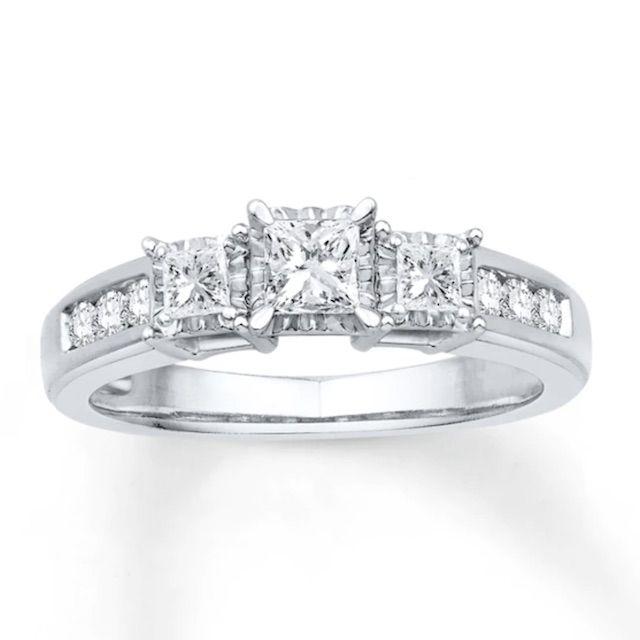 Kay Jewelers Three-Stone Diamond Ring 5/8 ct tw Princess-cut 10K White Gold