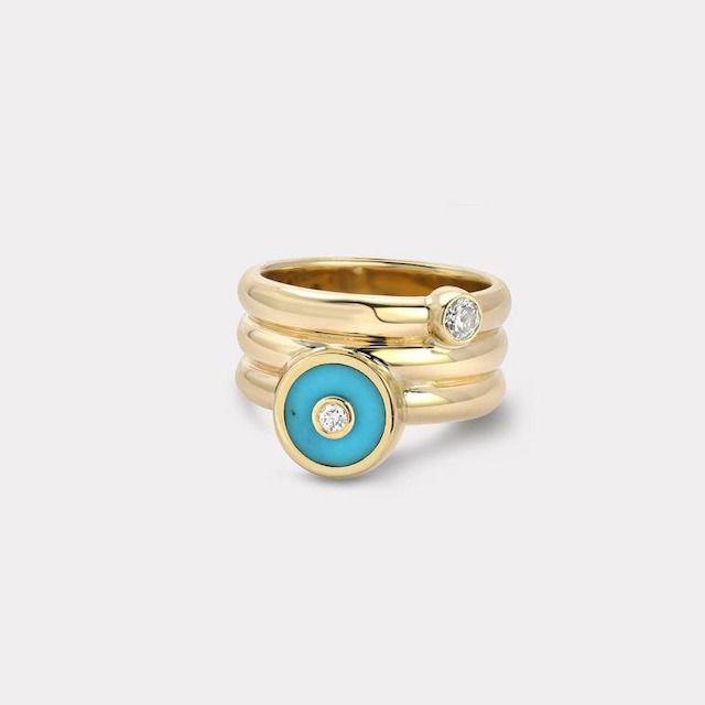 Retrouvai Triple Coil Mini Compass Ring