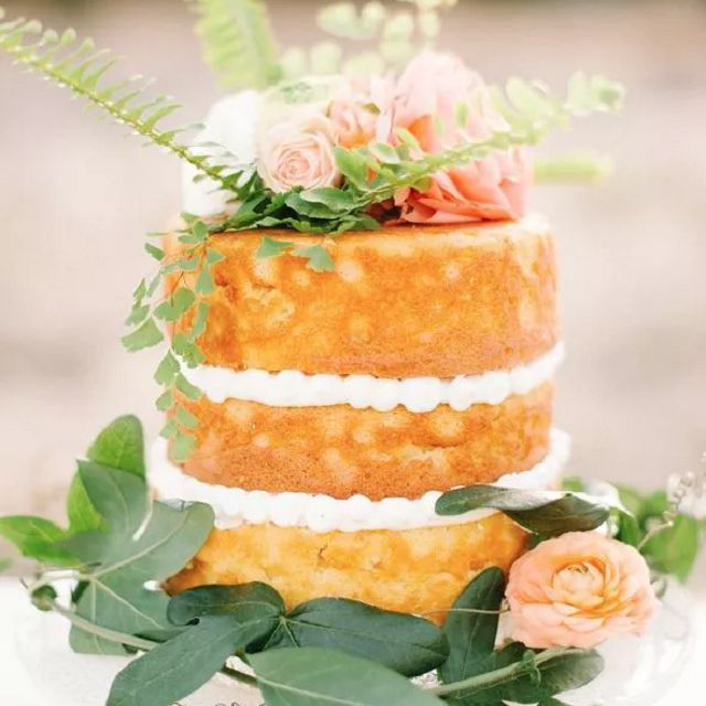Naked cake with border and florals