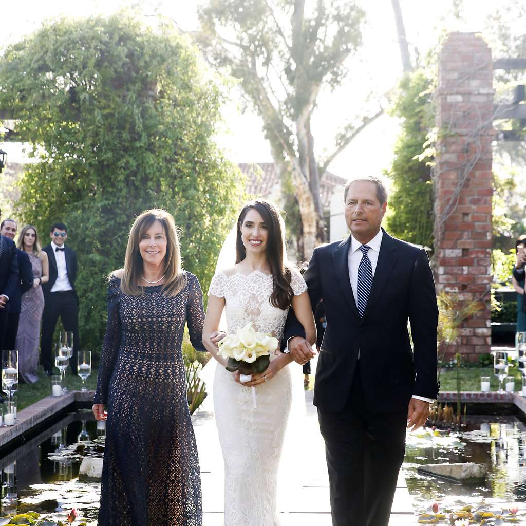 minimalist california wedding, mother and father of the bride walking down aisle