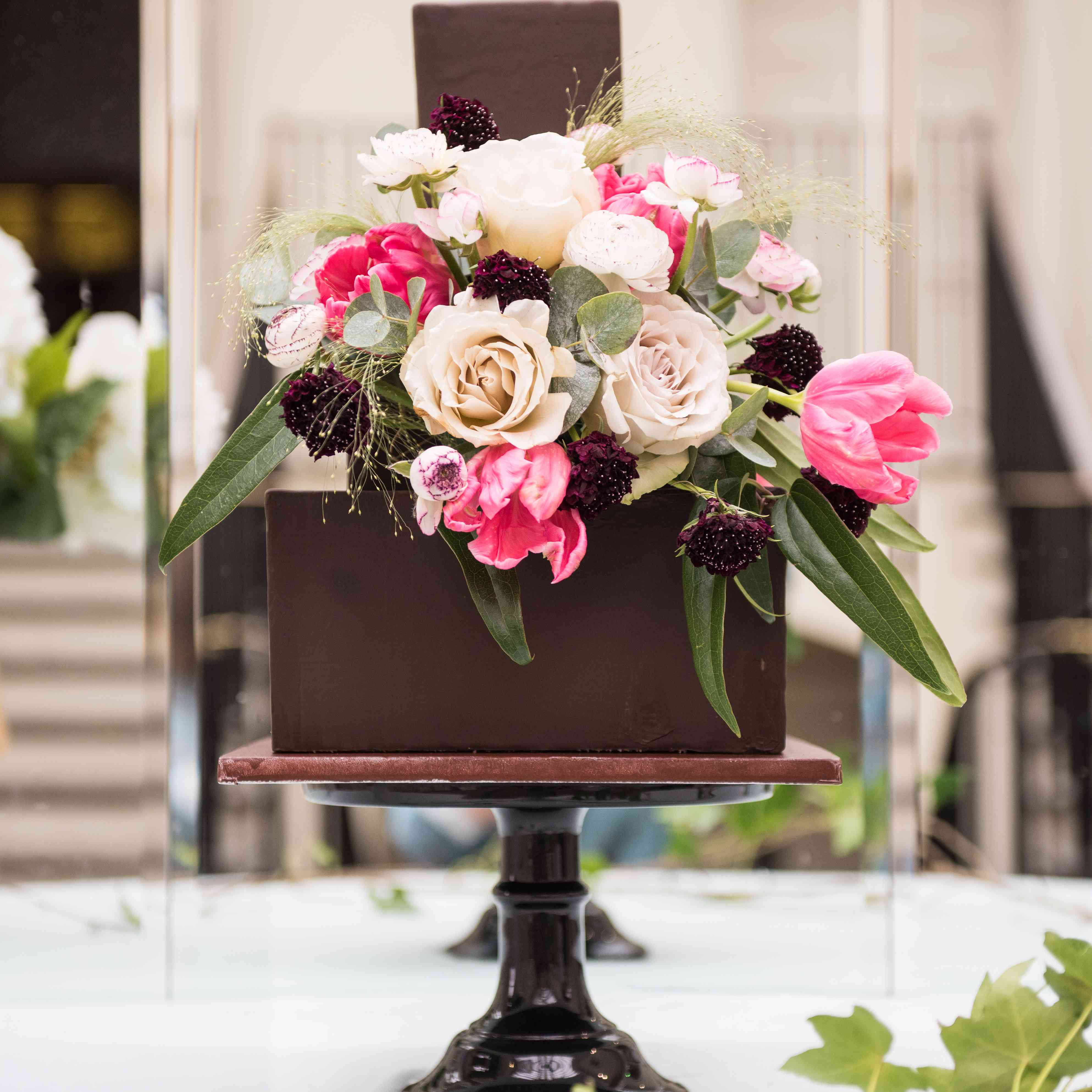 Chocolate cake with florals