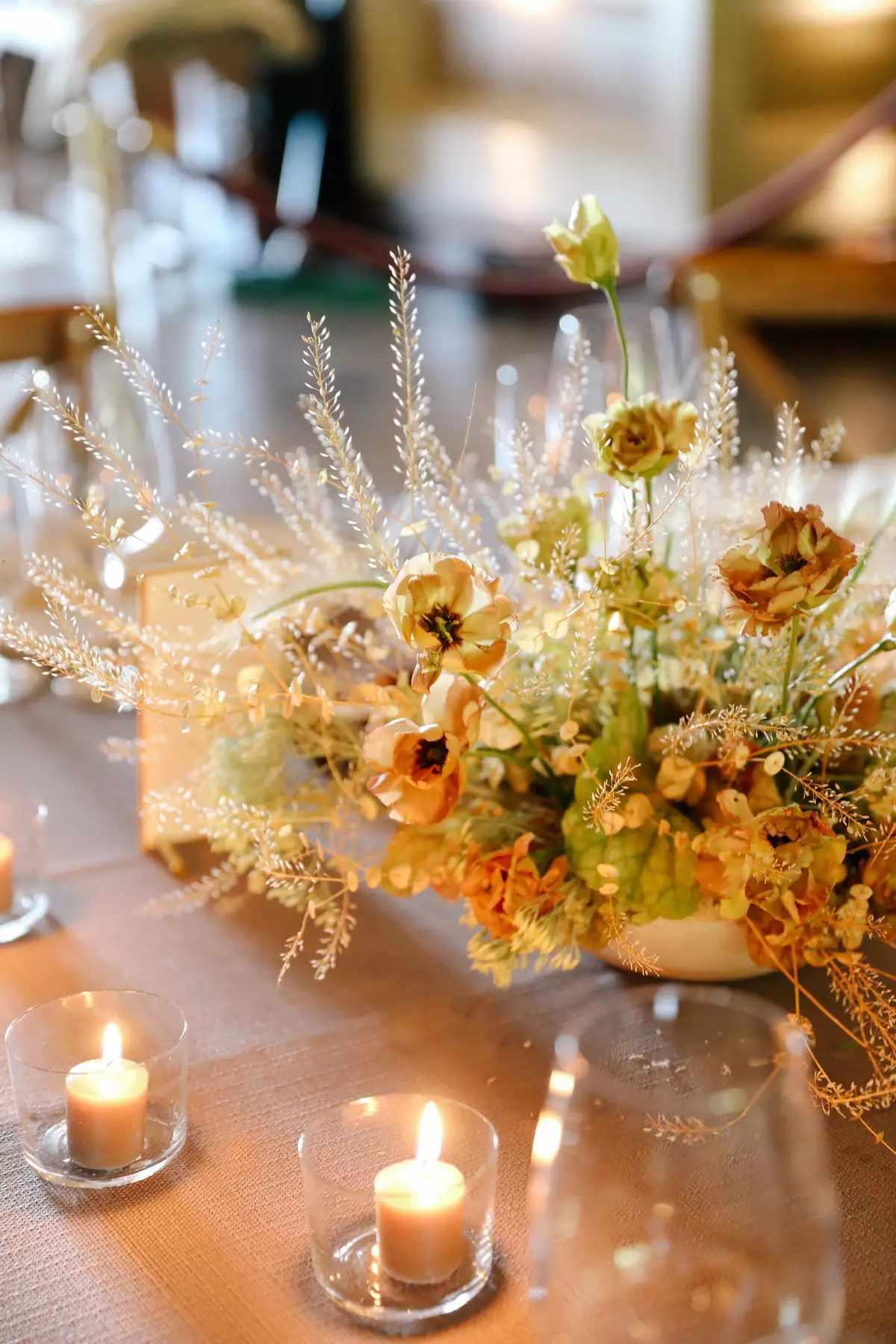 lighted flower centerpiece