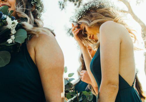 a bridesmaid looking concerned