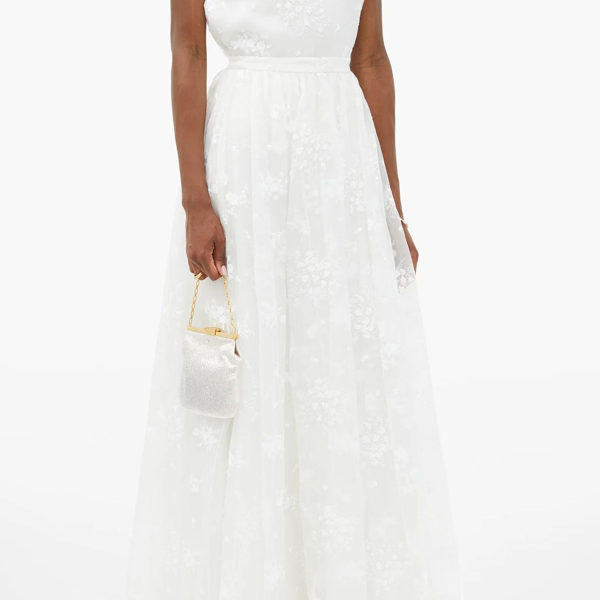 Floral Embroidered Organza Top and Skirt