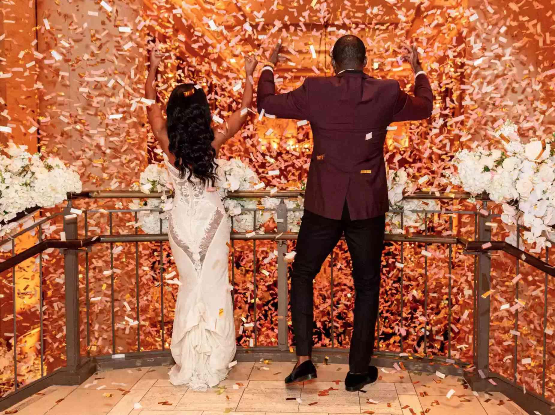 Newlyweds in confetti