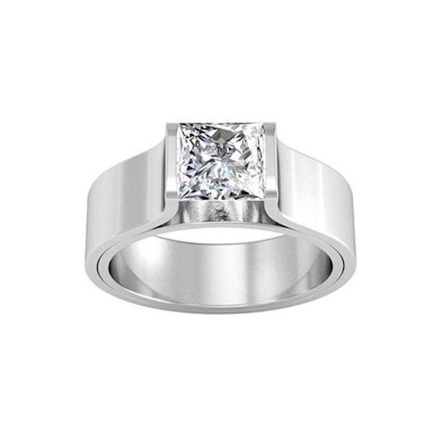 DeBians Tension Set Style Princess Solitaire Flat Engagement Ring