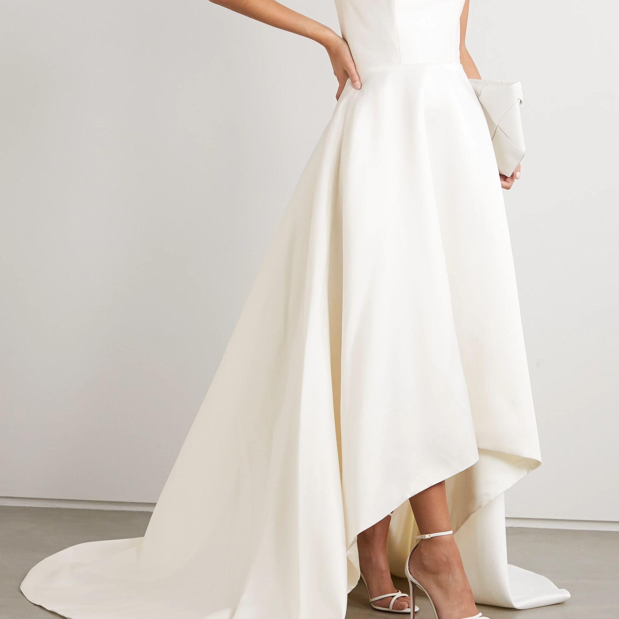 strapless asymmetric duchesse-satin gown