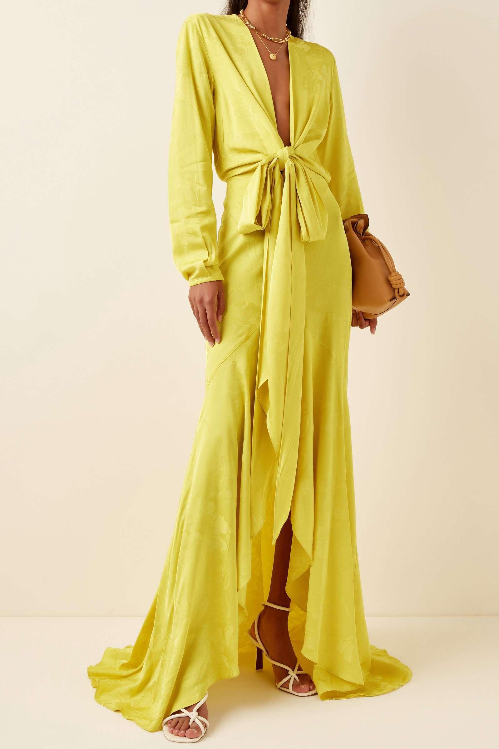 Silvia Tcherassi Albarella Floral Jacquard Maxi Wrap Dress