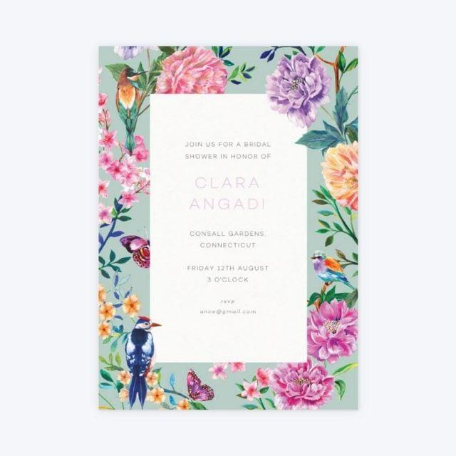 Papier Duchess Garden Mint Bridal Shower Invitation