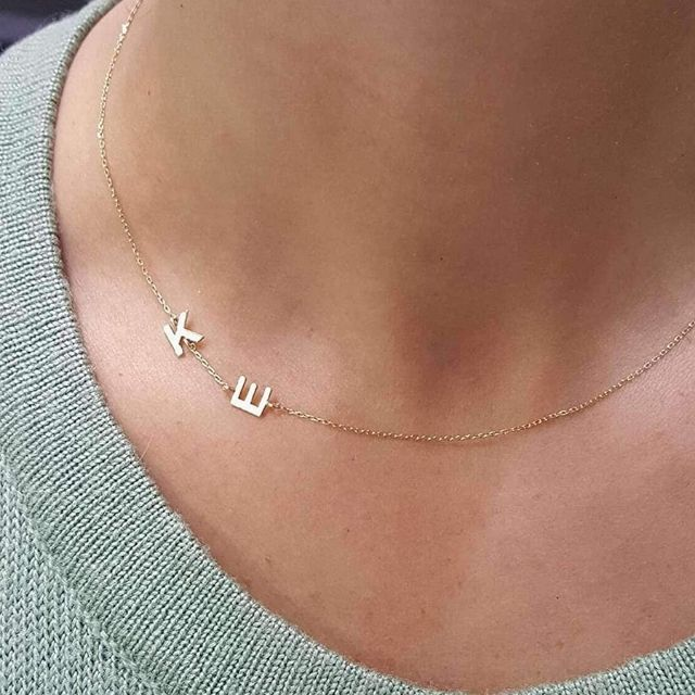 JeweeDiamond Dainty Initial Letter 14k Solid Gold/Silver Necklace