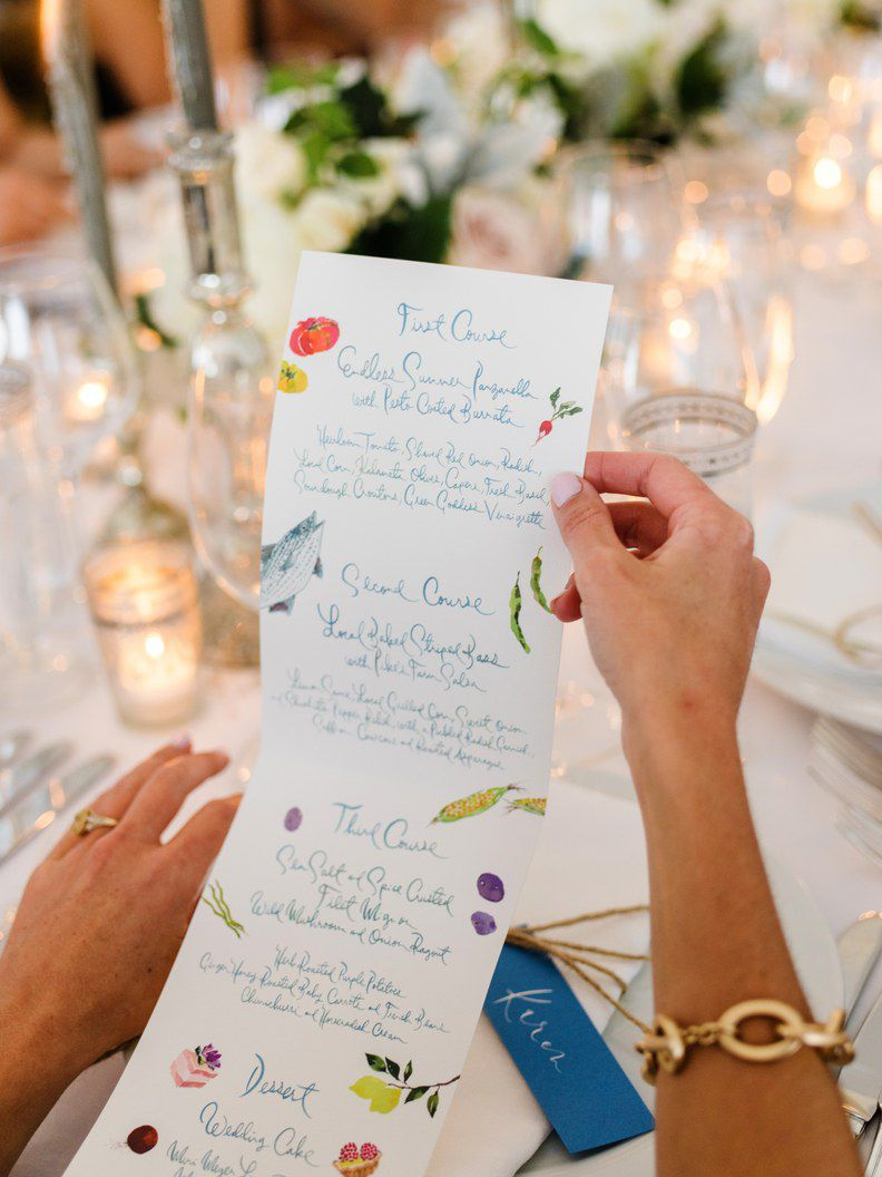 Person holding a wedding menu