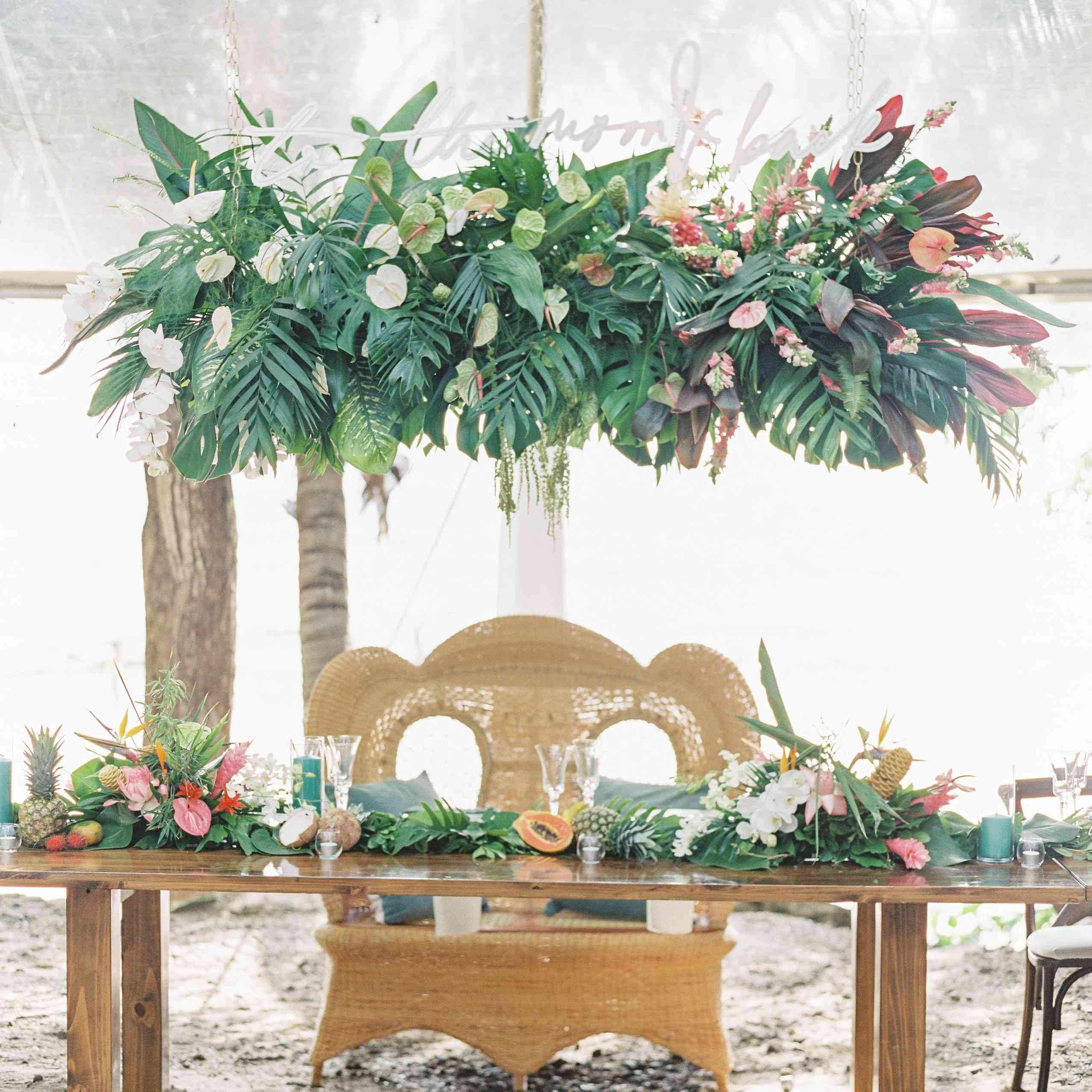 tropical sweetheart table with bench