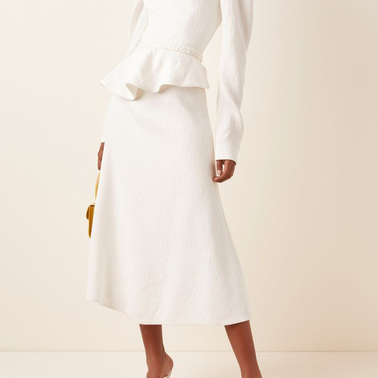 Johanna Ortiz Catalyst Crepe Peplum Midi Dress $1,250
