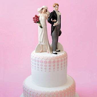 1920s bride and groom wedding cake topper