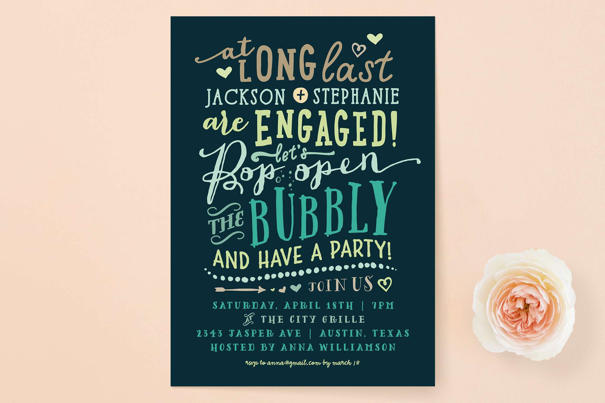 Pop the bubbly engagement party invitation