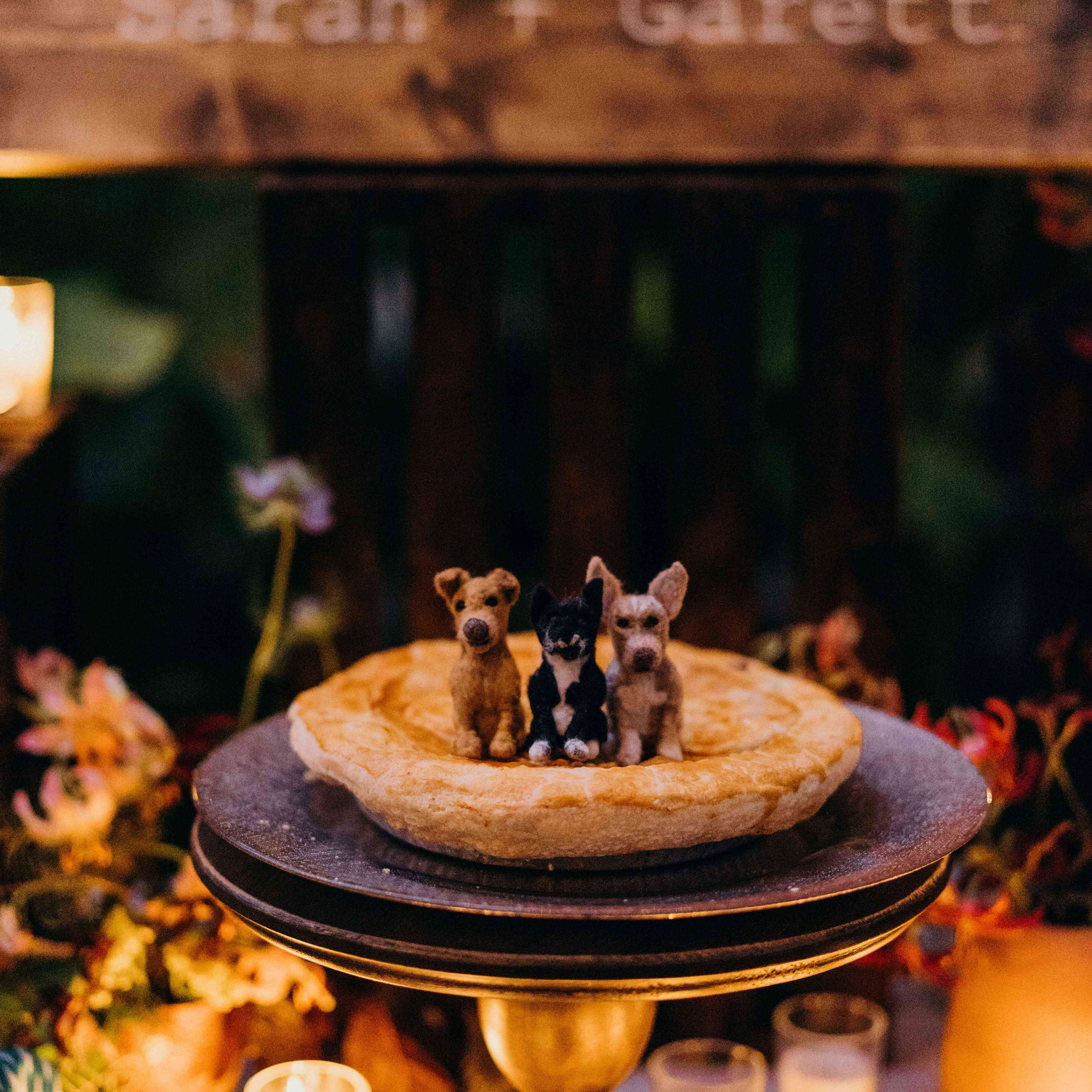 pie with dog topper