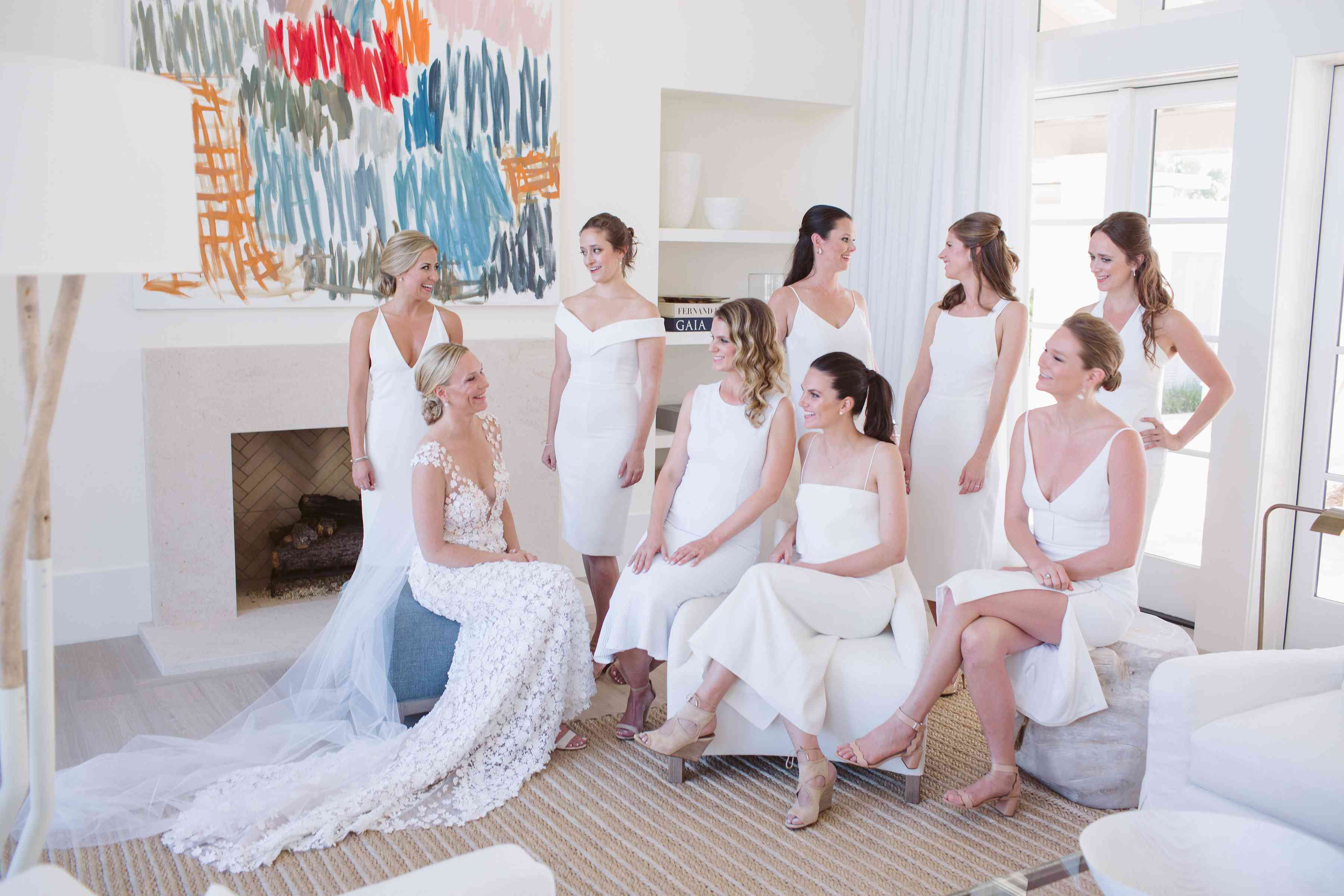 <p>bridesmaids in white</p><br><br>