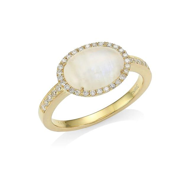 Meira T Yellow Gold, Diamond & Rainbow Moonstone Ring