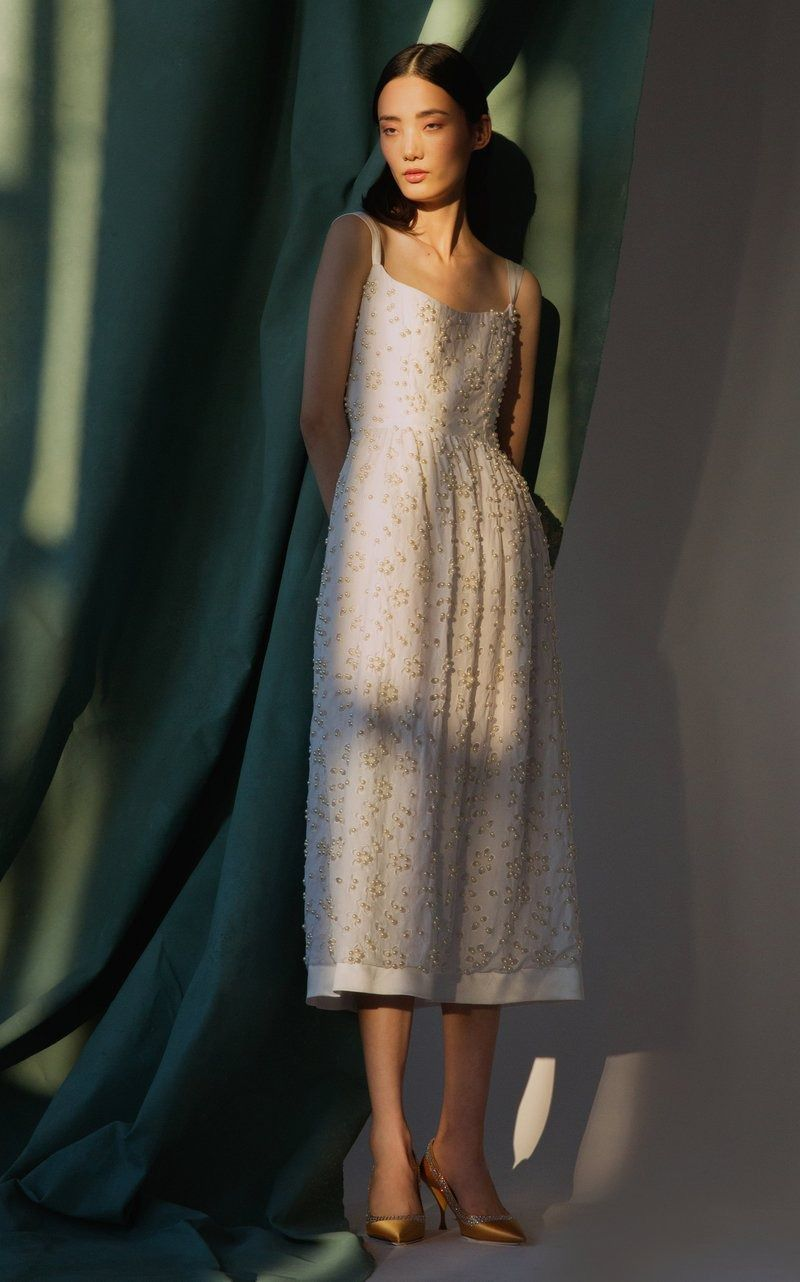 Persephone Embellished Broderie Anglaise Cotton Midi Dress by Markarian