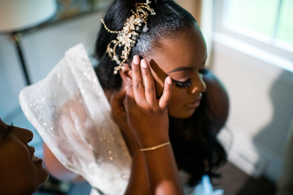 bride with unique hair piece