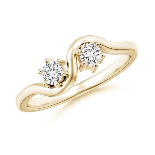 Angara Round Two Stone Twist Diamond Ring
