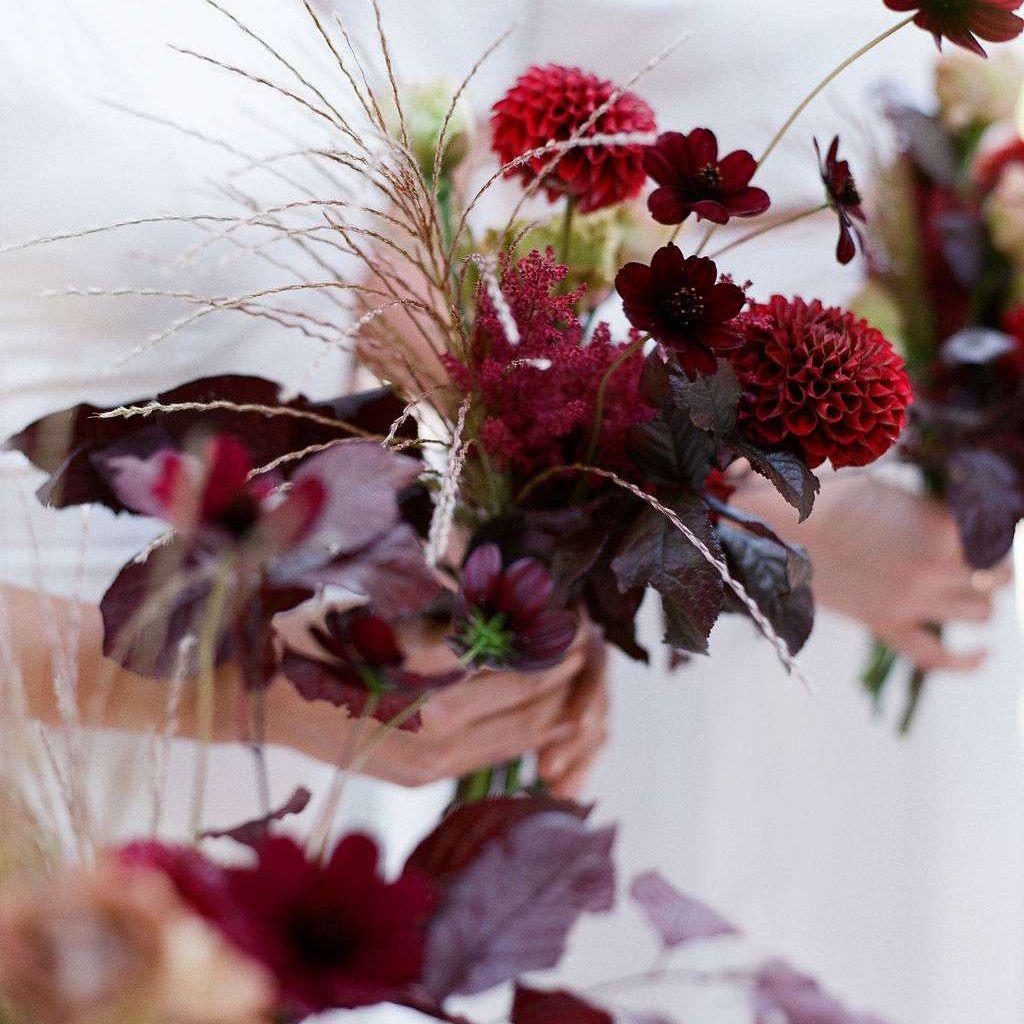 crimson posy wedding bouquet