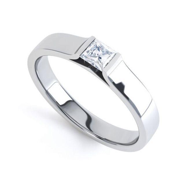 Serendipity Diamonds Tension Set Princess Diamond Solitaire Ring