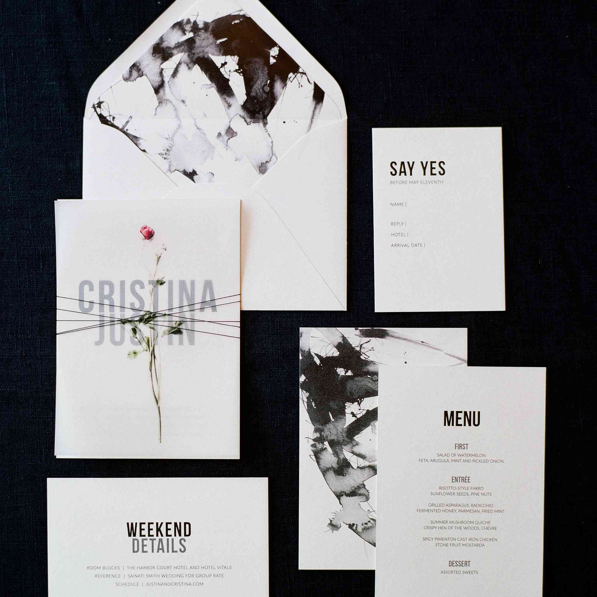 <p>invitation suite with Japanese calligraphy inspired brushstrokes</p><br><br>