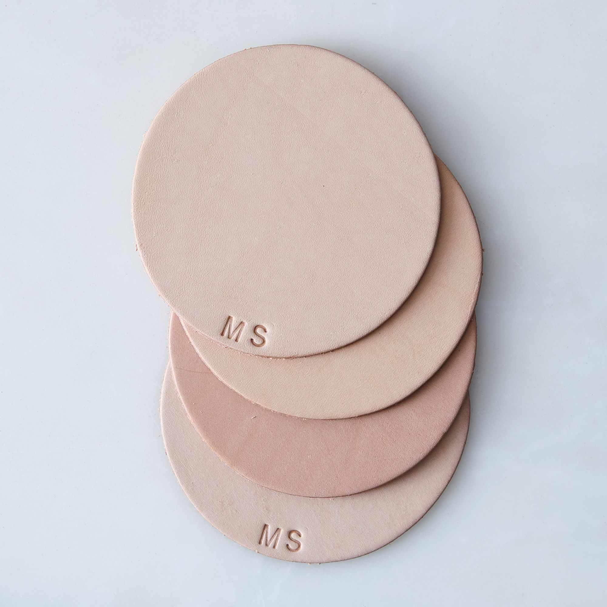 Celina Mancurti Monogram Leather Coasters