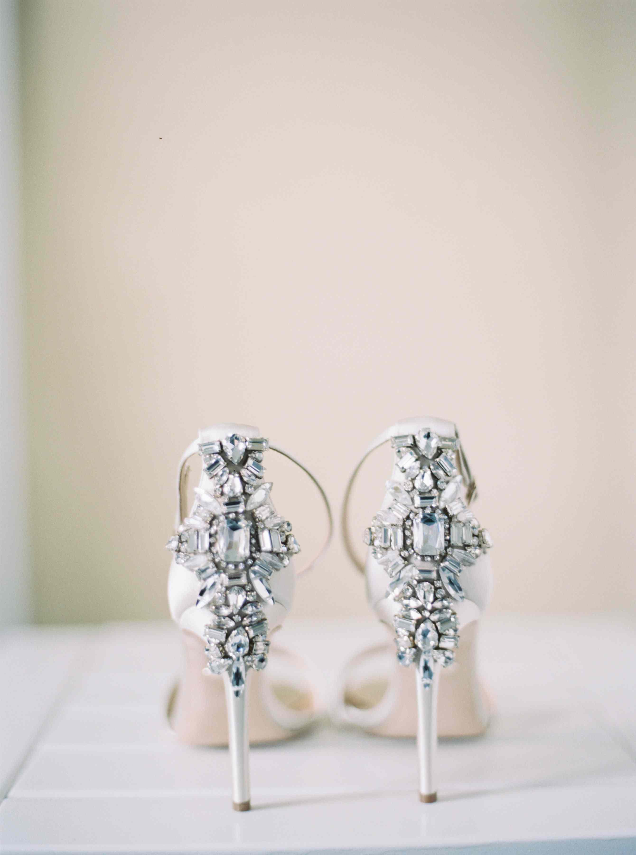 embellished wedding day shoes